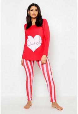 Womens Red Maternity Loved PJ Set