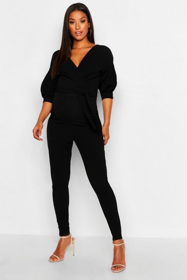 Womens Black Maternity Off The Shoulder Wrap Jumpsuit