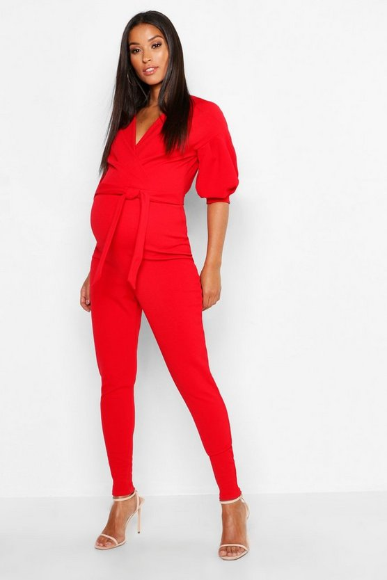 Womens Red Maternity Off The Shoulder Wrap Jumpsuit