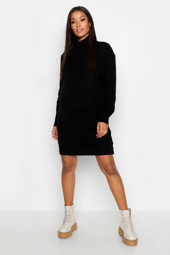 Womens Maternity Soft Knit Roll Neck Jumper Dress