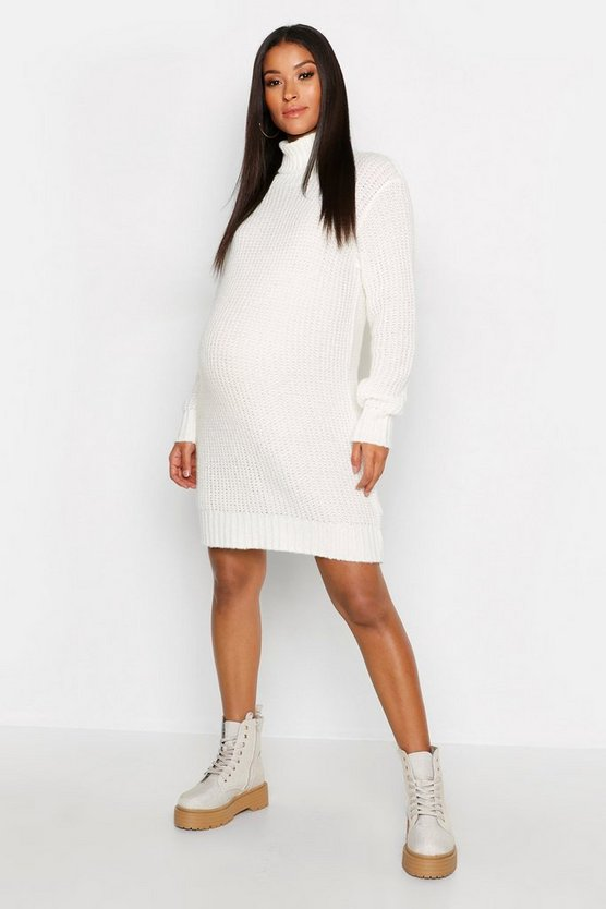 Maternity Soft Knit Roll Neck Sweater Dress