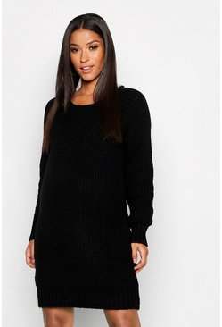Womens Black Maternity Soft Knit Jumper Dress