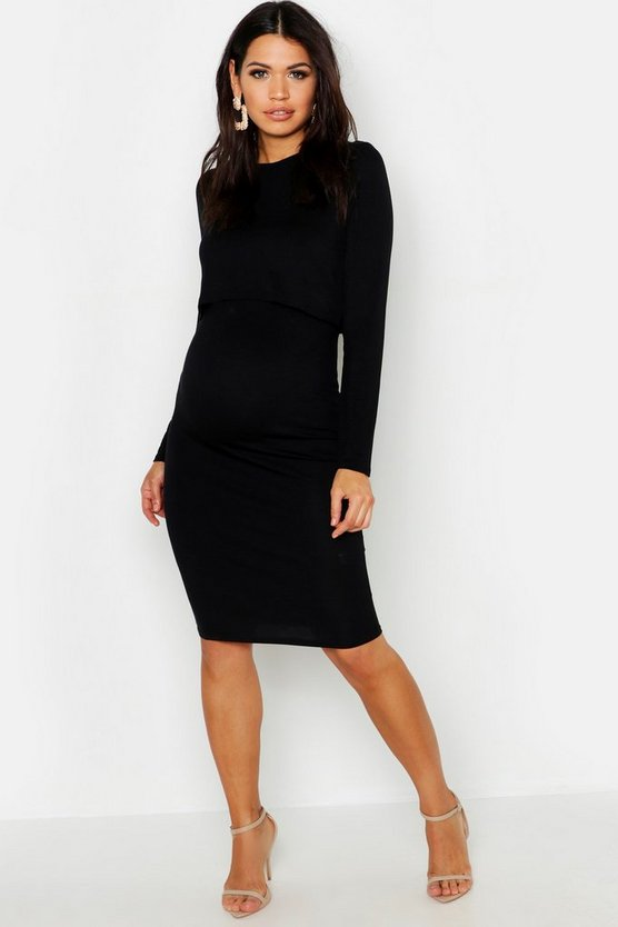 Black Maternity Long Sleeve Nursing Midi Dress