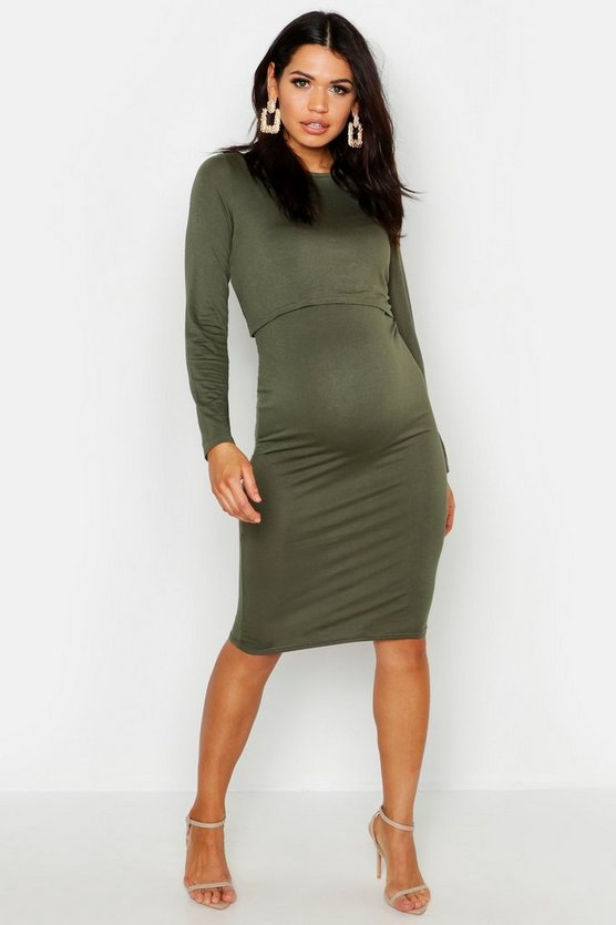 Womens Khaki Maternity Long Sleeve Nursing Midi Dress