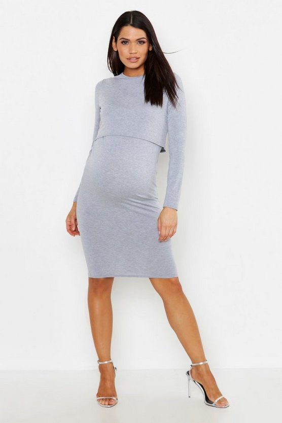 Womens Light grey Maternity Long Sleeve Nursing Midi Dress