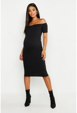 Womens Black Maternity Off The Shoulder Rib Bodycon Dress
