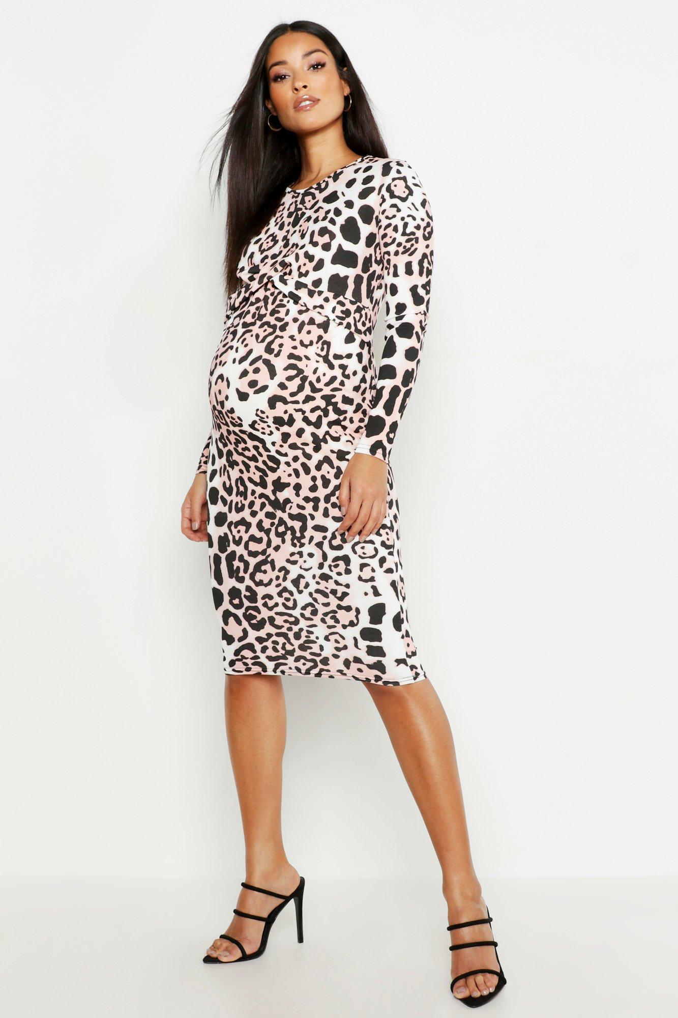 Maternity Twist Front Bodycon Midi Dress
