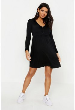 Black Maternity Button Front Smock Dress