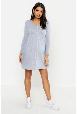 Womens Light grey Maternity Button Front Smock Dress
