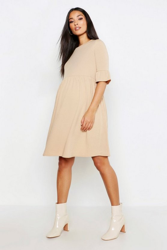 Womens Camel Maternity Rib Smock Dress