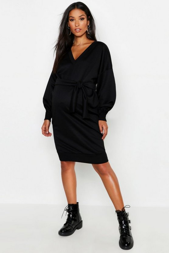 Maternity V Neck Sweat Midi Dress