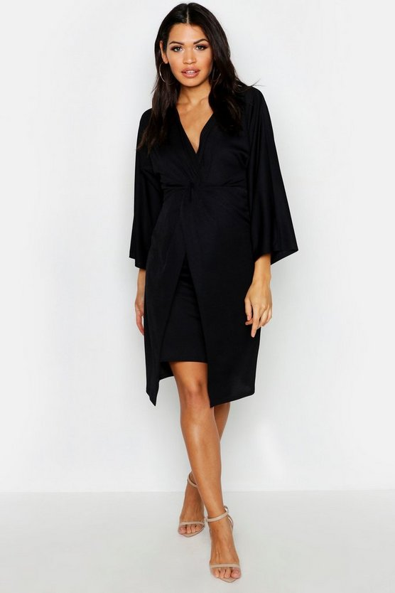 Womens Black Maternity Long Sleeve Twist Front Midi