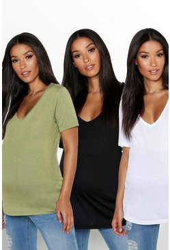 Womens Multi Maternity 3 Pack Ultimate V Neck T-Shirt