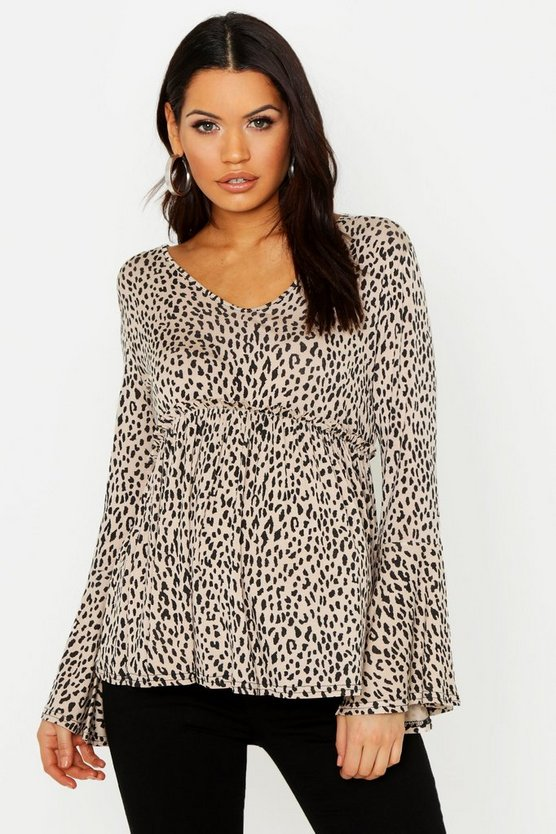 Maternity Leopard Smock Wrap Top