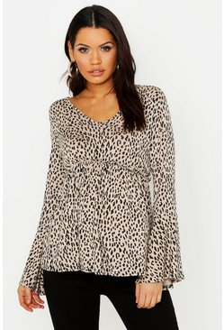 Womens Chocolate Maternity Leopard Smock Wrap Top