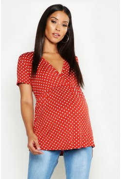 Terracotta Maternity Polka Dot Wrap Top