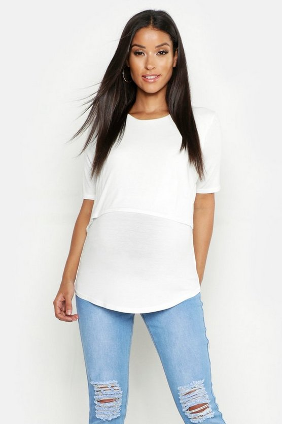 Womens Ivory Maternity Double Layer Top