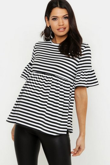 Womens Black Maternity Stripe Smock Top