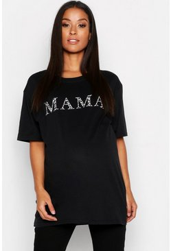 Womens Black Maternity Mama T-Shirt