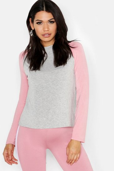 Womens Rose Maternity Raglan Long Sleeve Tee