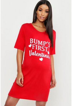 Womens Red Maternity Bumps First Valentine Nightie