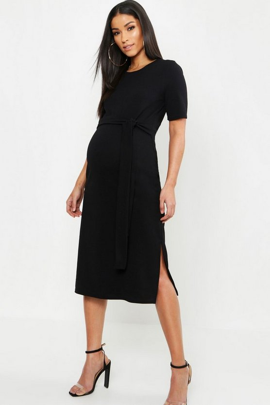 Womens Black Maternity Tie Front Midi Dress