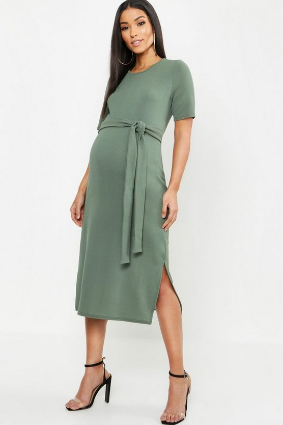 Maternity Tie Front Midi Dress