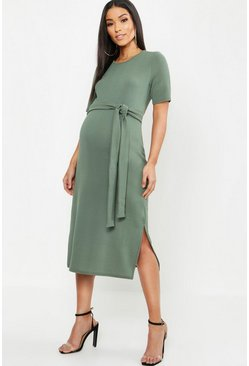Womens Khaki Maternity Tie Front Midi Dress