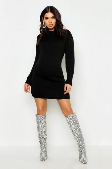 Womens Black Maternity Knitted Jumper Dress