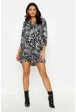 Womens Black Maternity Mixed Animal Shirt Dress