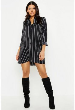 Black Maternity Stripe Shirt Dress