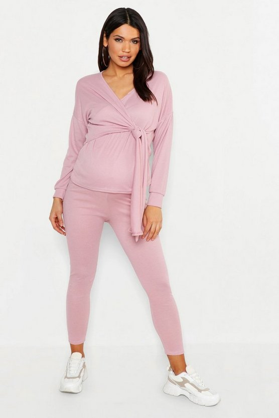 Maternity Rib Wrap Tie Front Lounge Set