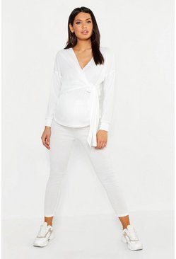 Womens Ivory Maternity Rib Wrap Tie Front Lounge Set