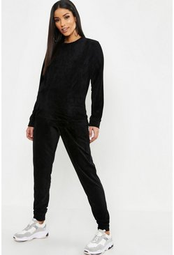 Womens Black Maternity Terry Towelling Crew Neck Lounge Set