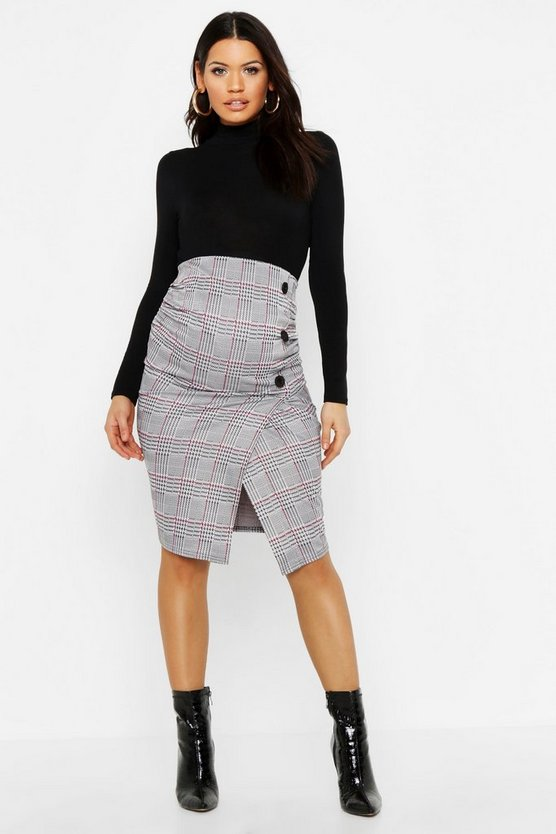 Maternity Button Detail Checked Midi