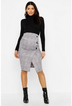 Womens Black Maternity Button Detail Checked Midi