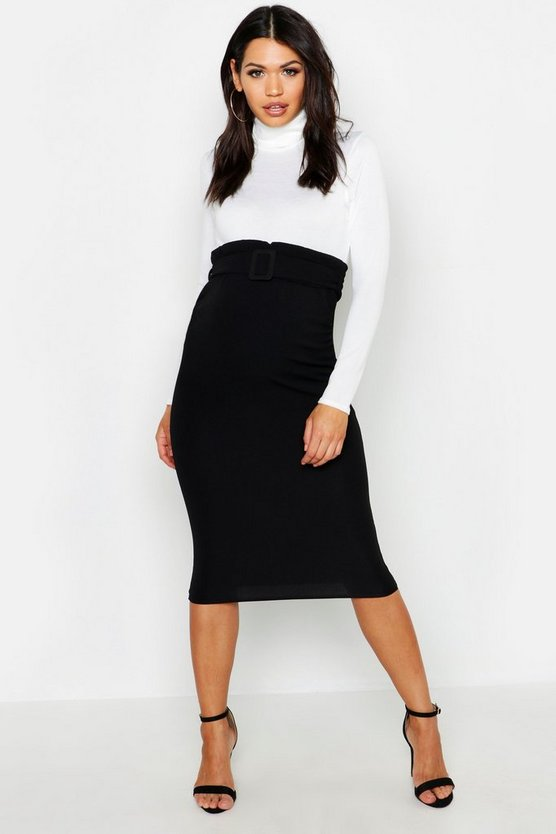 Womens Black Maternity Belted Midi Skirt