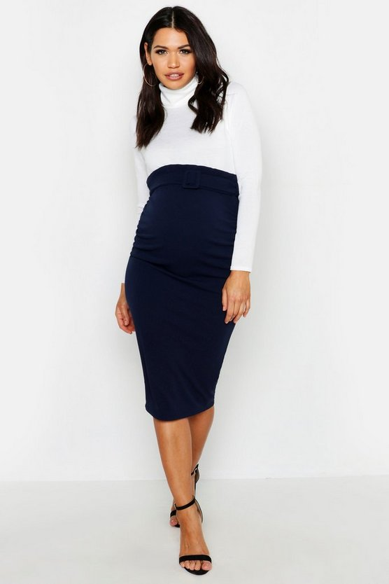 Maternity Belted Midi Skirt