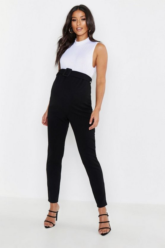 Black Maternity Tapered Leg Buckle Detail Pants