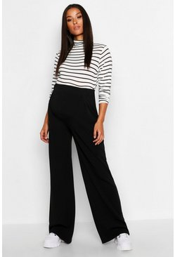 Black Maternity Over The Bump Wide Leg Trousers