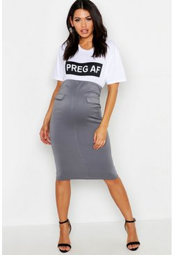 Womens Charcoal Maternity Scuba Midi Skirt With Pockets