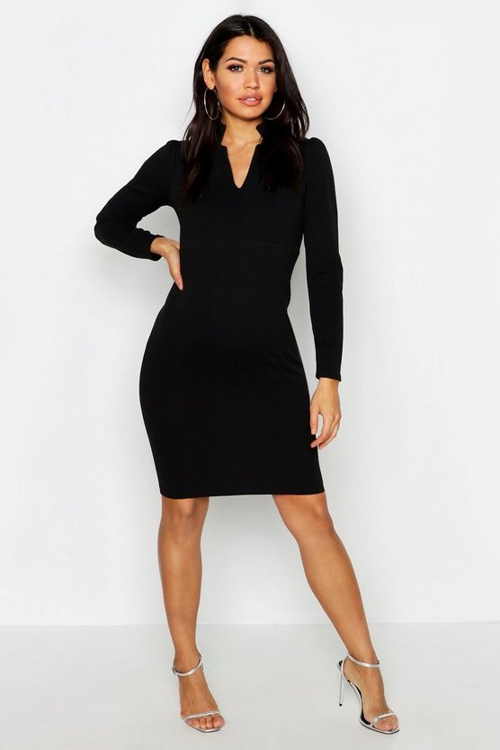 Womens Black Maternity V Neck Midi Dress