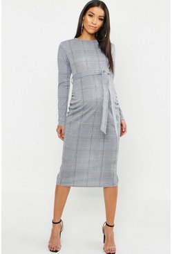 Womens Black Maternity Check Tie Waist Midi Dress