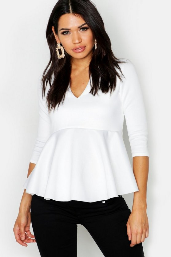 Womens Ivory Maternity Scuba V Neck Top
