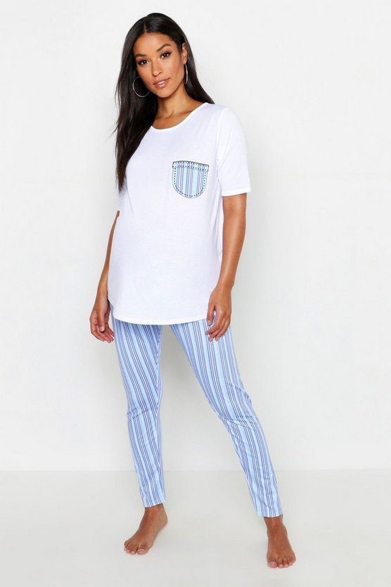 Womens Blue Maternity Stripe Pocket PJ Set