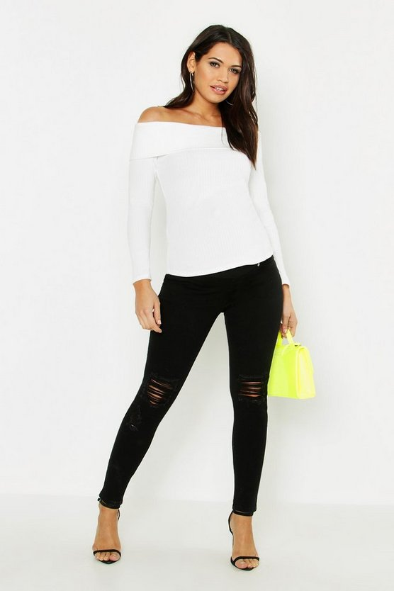 Black Maternity 5 Pocket Ripped Over The Bump Jean