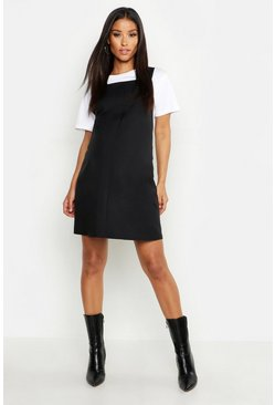 Womens Black Maternity Woven Grow With Me Pinafore Dress