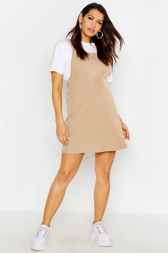 Womens Camel Maternity Woven Grow With Me Pinafore Dress
