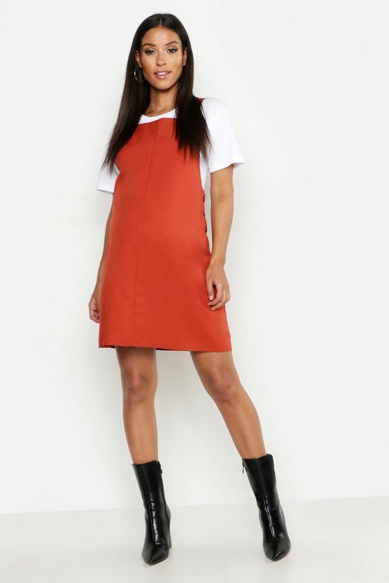 Rust Maternity Woven Grow With Me Pinafore Dress