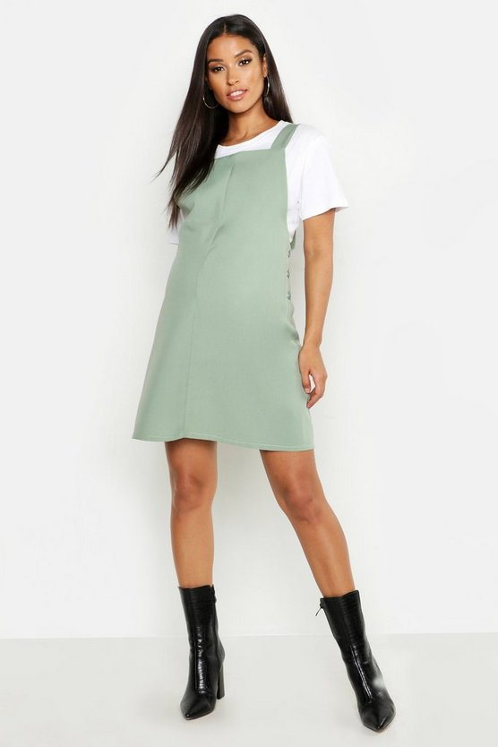 Womens Sage Maternity Woven Grow With Me Pinafore Dress